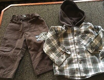 Boys Size 12 Months  Hooded Plaid Shirt, Brown, Green,Off-white and Brown Pants