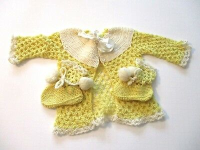 Baby Cardigan Sweater Booties Yellow Beige Pom Poms Unisex Boys Girls Vtg 1930s