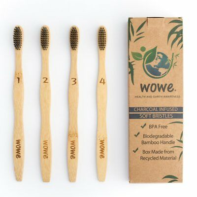 Lot De 4 Brosses A Dents Bambou Et Charbon Actif