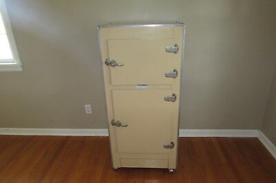 Antique 1936 Metal Winter-Air Ice Box Non Electric Refrigerator on Casters #1073