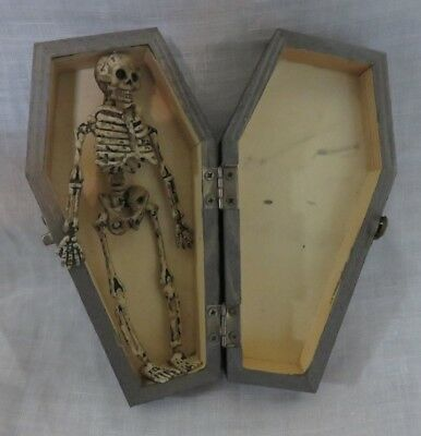 "Very Cute Small Vintage 6"" Halloween Decoration Coffin With Skeleton"