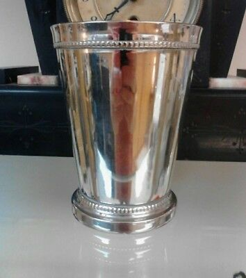 "4. 3/4"" Tall Silver Mint Julep Cup with Heavy Beaded Edge ~ Monogramed ""L"""