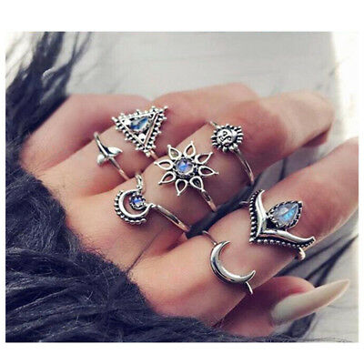 Silver Boho Women Stack Plain Above Knuckle Ring Midi Finger Tip Rings Set B