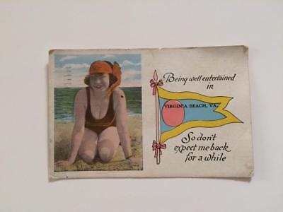c1933 POSTCARD  BEING ENTERTAINED BUSTED GIRL VIRGINIA BEACH VA  999