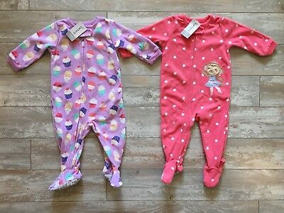 80403006bd4c LOT OF 2 Carter s Baby Girl Footed Pajamas Sleep Suits 12 Months ...