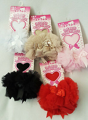 Frilly Tights TuTu Bow Baby Girls tights Ruffles Bows Red Black White Pink Tan