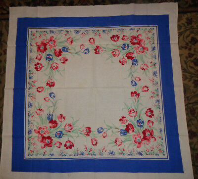 """Vintage Linen Cotton Tablecloth Printed Red Pink Blue Tulips 50"""" Square"""
