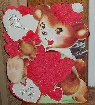 """LARGE 8 1/2"""" X 7""""  Flocked BEAR CUB  Stand Up Vintage Valentines Day Card"""
