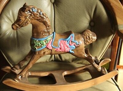 Vintage Large Hand Painted Ceramic Crafted Rocking Horse