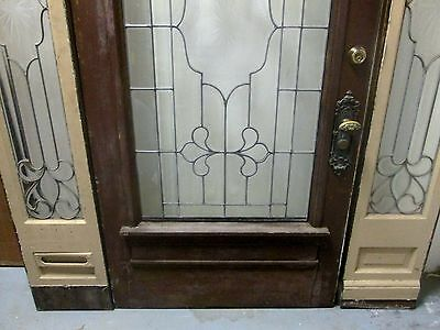 Exterior Oak Door & Matching Beveled Glass Side-Lites Impressive 3 Pc Set # 598