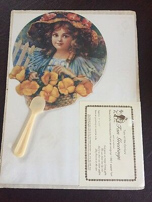 Turn Of The Century Paper Fan Greetings Sealed With Envelope