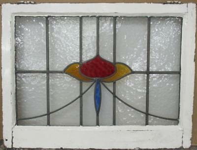 "OLD ENGLISH LEADED STAINED GLASS WINDOW TRANSOM Vibrant Sweep 28.75"" x 22"""