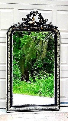 Antique French Victorian Carved Ornate Flowers And Bird Large Frame Mirror