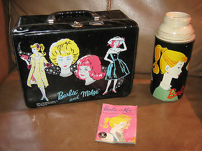 Barbie and Midge Vinyl Lunchbox with Thermos dated 1964