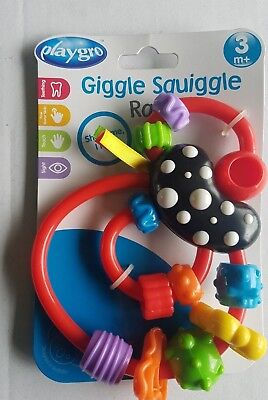 New Playgro giggle squiggle rattle 3m+ Spinning beads Shake Me I Rattle