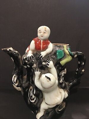 """Lovely Chinese Porcelain Polychrome Children At Play Tea Pot 6.5"""" Missing Lid"""