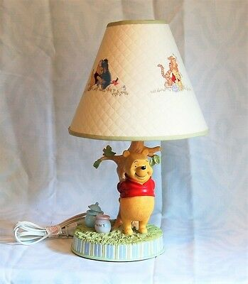 Winnie The Pooh With Hunny Pot Lamp W/ Matching Shade-Beautiful