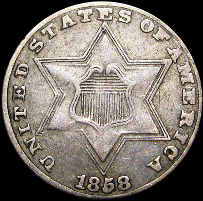 1858 Silver Three Cent Piece 3cp Type coin ----  NICE ----  #I890