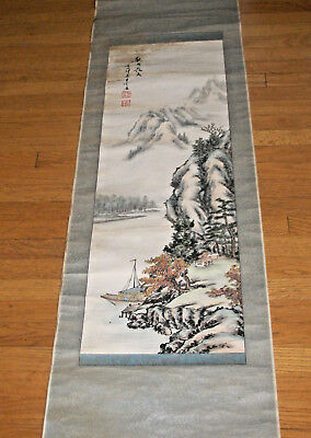 Chinese or Japanese Wall Hanging on cloth Boat Harbor Scene w Mountains  Signed