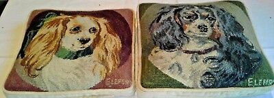 Two Matching Cavalier King Charles Pillows/ Blenheim & Tri Color Square Handmade