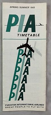 Airline Timetable 1965 PIA Pakistan International Airlines Spring / Summer