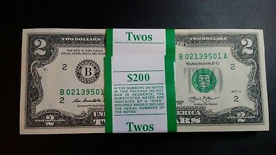 1976-2013 New Crisp Mint Uncirculated US $2 Two Dollar Bill Banknote Currency