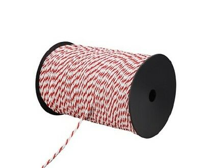 NEW 4mm Wide 500m Roll Livestock Pets Electric Fence Energiser Visible Poly Rope