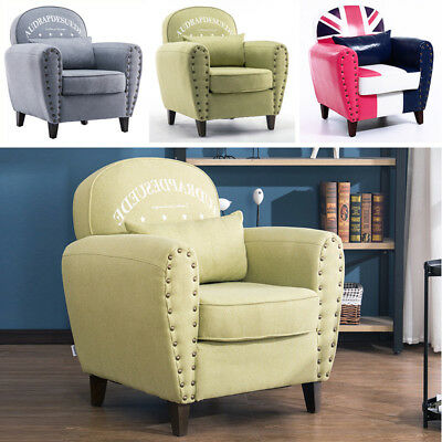 Occasional Linen Fabric Tub Chair Armchair Upholstered Small Sofa with 1 Cushion