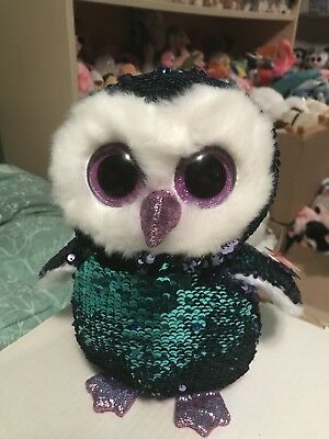 "9481f8e3a7e Ty FLIPPABLES  MOONLIGHT -Violet Teal Sequined Owl 10"" Beanie Boo!"