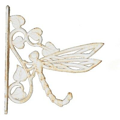 Dragonfly Iron Pot Hanging Hanger Vintage Country White French Provincial Garden