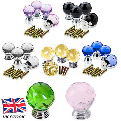 Clear Crystal Diamond Glass Door Knobs Cupboard Drawer Handle Cabinet Furniture