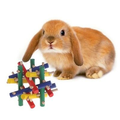 Colorful Wood Safety Pet Toys Knot Nibble Chew Bite For Rabbit Animal Kid Adults