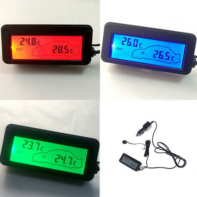 Mini digital car lcd display indoor outdoor thermometer 12v vehicles sensor TK