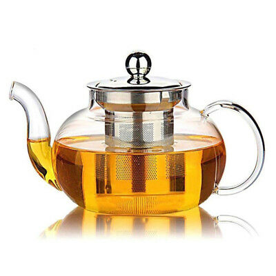 800ml Glass Teapot with Stainless Steel Infuser Lid Borosilicate Glass Tea Pot ♫