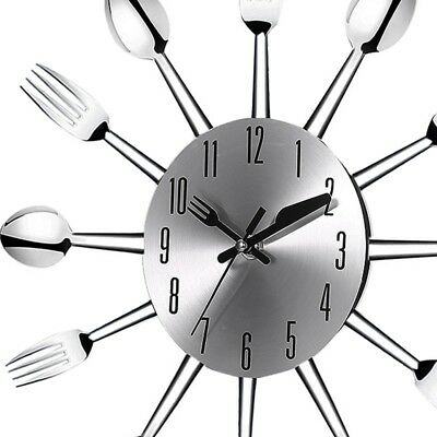 Stainless steel knife and fork spoon kitchen restaurant wall clock Home Dec V9Q3