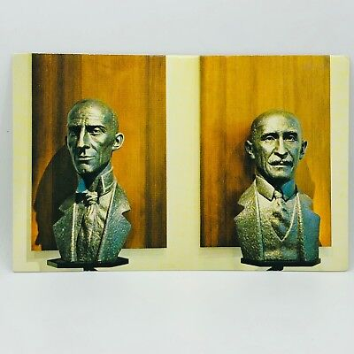 Postcard Ohio OH Bronze Busts of Wilbur and Orville Wright Air Force Museum C-1p