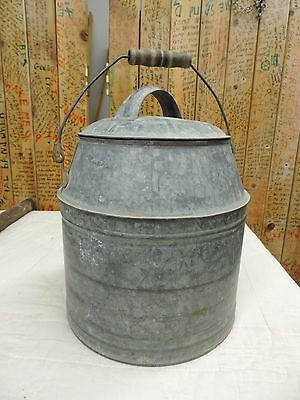 Vintage Galvanized Metal Lunch Pail Milk Can Bucket With Lid Wood Handle