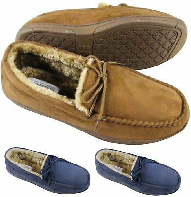 Mens Bedtime Bed Slippers Moccasin Faux Fur Sheepskin Comfort Soft Shoes Sz 7-12