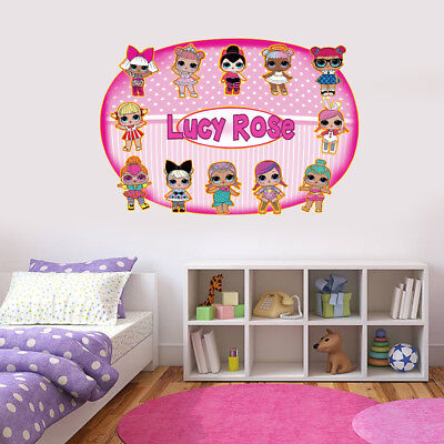 Personalised LOL DOLLS Inspired full colour Wall art Sticker Name/Message.