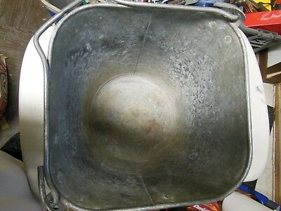 Antique 3 Gallon Heavy Duty Galvanized Metal Square Bucket with Bail