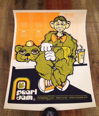 Pearl Jam poster - 2003 Pittsburgh + Philadelphia + State College - Ames Bros