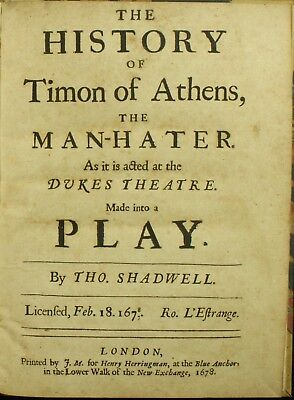 William Shakespeare TIMON OF ATHENS 1678 Shadwell 1ST EDITION 4to VERY RARE NR
