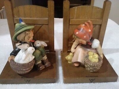 """2 Hummel Bookends Figurines  """"PLAYMATES and CHICK GIRL"""" TMK3 1960-72"""