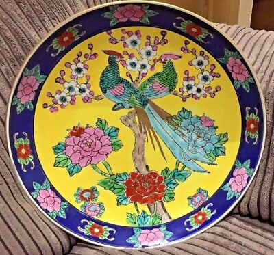 Vintage Japanese Charger Imari Plate, Hand Painted Peacocks&Flowers-Collectable