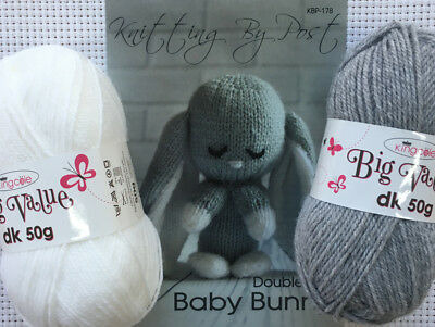 Knitting By Post Baby Bunny Kit Complete With Wool and Knitting Pattern