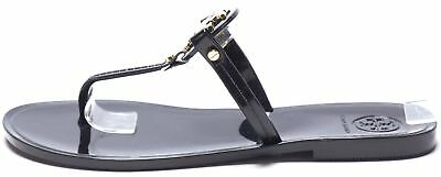 f3ef0a906d0b TORY BURCH Black Gold Toned Patent Leather Thong Sandals Size 6