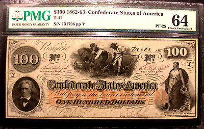 T-41 1862 $100 CONFEDERATE STATES of AMERICA,PF-26 T VARIETY MISLABELED PMG 64