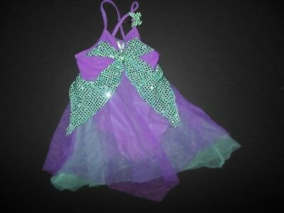 NWOT Small child girls Dance Costume Butterfly Chiffon Skirting Faux Sequin