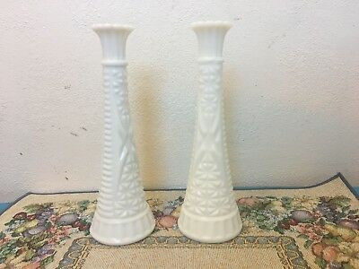 Vintage Anchor Hocking Flower Bud Vases Milk Glass Stars + Bars Pair 9 Inches