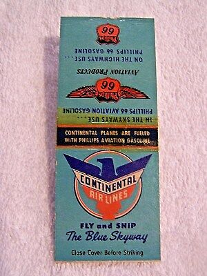 """Rare 1940's Continental """"blue Skyway"""" Airlines Matchbook W/route Map"""